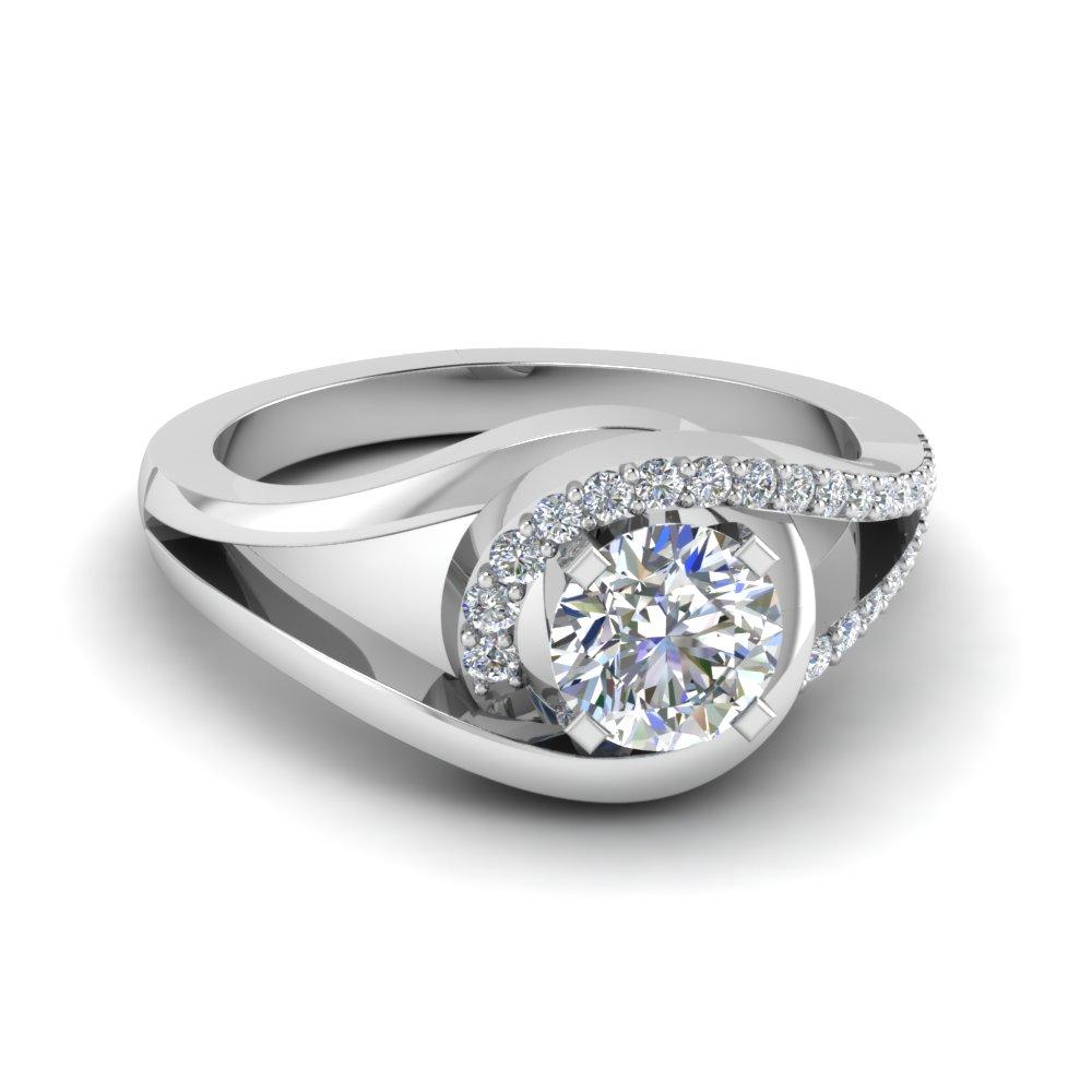 Split Shank Floating Halo Diamond Engagement Ring